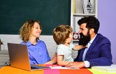 Mother Father And Son Together Schooling. Back To School And Home Schooling. Ready To Study. School  poster