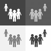 Vector Set Image Of A Crowd Of People And One Person Standing Aside. A Person Different From Others  poster