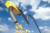 Euro signs dripping out of a yellow fuel nozzle