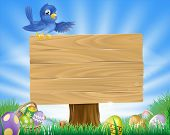 foto of bluebird  - A bluebird Easter cartoon background - JPG