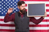 Patriotic Education. Bearded Man Holding Scissors And Blackboard In Education School. Barber Educati poster