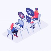 Hotline Office Workers Vector Isometric Illustration. Call Center Operators In Headset At Workplace, poster