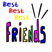 Hand Drawn Phrase Best Best Best Friends. Hand Written Lettering Illustration. Lettering Design. Mul poster