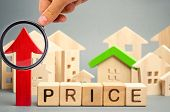 Wooden Blocks With The Word Price, Up Arrow And Wooden Houses. The Increase In Housing Prices. Risin poster