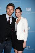 LOS ANGELES - MAR 10:  Scott Clifton; Nicole Lampson arrives at the Bold and Beautiful 25th Annivers