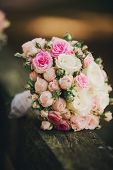 Beautiful Wedding Bouquet, Wedding Floristry. Stylish Wedding Bouquet Bride. Close Up. Side View. We poster