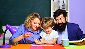 Family School. Child From Elementary School With Parents. Little Child School Boy In First Grade. Ba poster