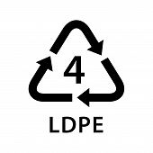 Recycle Arrow Triangle Ldpe Types 4 Isolated On White Background, Symbology Four Type Logo Of Plasti poster