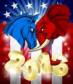 A Blue Donkey And Red Elephant Facing Off. American Politics 2016 Election Concept With Animal Masco poster