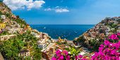 Landscape With Positano Town At Famous Amalfi Coast, Italy poster