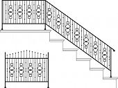 Wrought iron stairs railing, Gate, Picket design