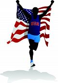 Athlete With USA Flag