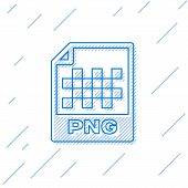 Blue Png File Document Icon. Download Png Button Line Icon Isolated On White Background. Png File Sy poster