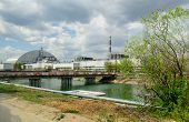 Panorama Near The Chernobyl Nuclear Power Plant. The First Second Third And Fourth Power Units. Arch poster