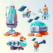 Space Planet Colonization Vector Cartoon Set. Futuristic Technology, Sci-fi Construction, Space Expl poster