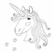 Black Line Unicorn For Coloring Book Or Page poster