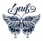 Beautiful Butterfly Is Symbol Of Soul. Tattoo Butterfly With Calligraphy Soul. Tropical Papilio Memn poster