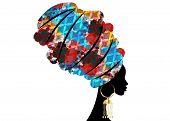 Portrait Beautiful African Woman In Traditional Turban, Kente Head Wrap African, Traditional Dashiki poster