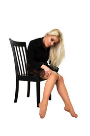 picture of panty-hose  - A lovely glamourous young blonde puts on her panty hose - JPG
