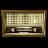 Retro Radio Isolated On A Black