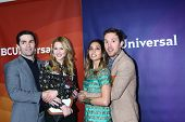 LOS ANGELES - JAN 7:  Sam Witwer, Meaghan Rath, Kristen Hager, Sam Huntington attends the NBCUnivers