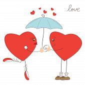 Cute heart girl and heart boy under umbrella