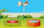 Illustration of a girl playing trampoline in a beautiful garden