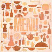 Retro restaurant menu card design template. Eps10.