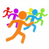 pic of sm  - Group of symbolic human figures running for the leader sport and leadership conception composition isolated on white background - JPG