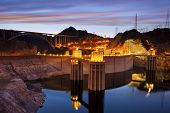 stock photo of dam  - Image of Hoover Dam and Hoover Bridge at twilight blue hour - JPG