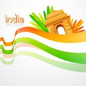 stock photo of india gate  - vector wave style indian flag with india gate - JPG