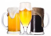 Frosty Glass Of Light And Dark Beer Set Isolated