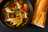 image of penicillin  - the popular comfort food of chicken noodle soup a favorite variety with crusty bread - JPG