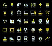 image of video game  - Web Vector Icon Set On Black Background - JPG