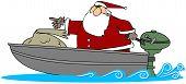 Santa in ein Motorboot