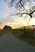 pic of tobacco barn  - morning sunrise over tobacco barn near Lexington Kentucky farmland - JPG