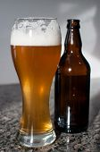 Wheat Beer Glass And Brown Bottle