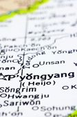 Close Up Of Pyongyang On Map, North Korea
