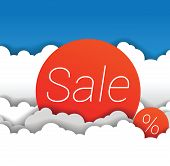 Vector sale sign in clouds