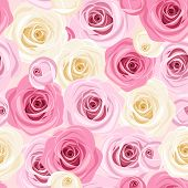 Seamless background with pink and white roses. Vector illustration.