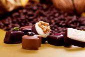 Coleção de bombons de Chocolate doces diferentes
