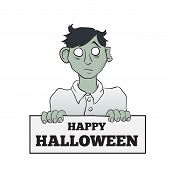 Cartoon Melancholy Zombie with Sign