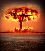 stock photo of nuclear bomb  - Nuclear explosion in an outdoor setting - JPG