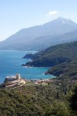 Panoramic view on the Pantokratoros monastery and the Holy Mount Athos