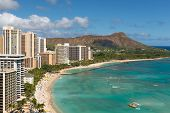 picture of waikiki  - Scenic view of Diamond Head and Waikiki Beach in summer day - JPG