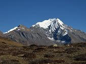 Snowcapped Pisang Peak, Nepal