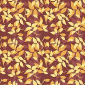 Seamless pattern with autumn leaves on purple. Vector illustration.