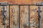 Antique Rustic Pine Wood Door With Wrought Iron Hinges - Detail