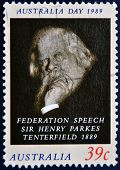 AUSTRALIA - CIRCA 1989: A stamp printed in Australia shows sir Henry Parkes Tenterfield