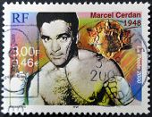 A Stamp Printed In France Shows Marcel Cerdan